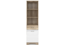 MULATTO Oak canyon / white gloss open bookcase 1d1s