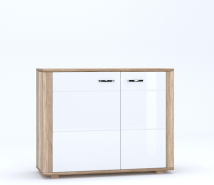 DAVIN Oak canyon / white gloss chest of drawers 2d